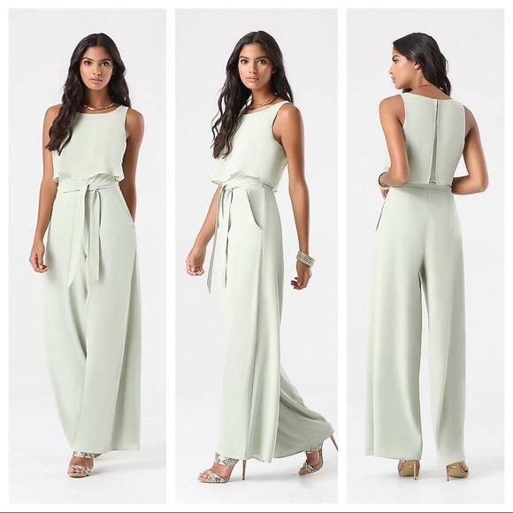 74aca610b23 New Bebe Soft Sage Green Tie Waist Jumpsuit XS 0